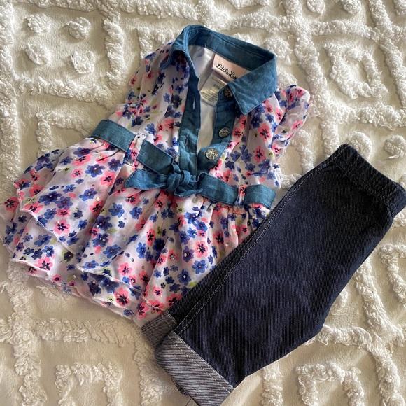 Matching set 6-9months girl floral Capri